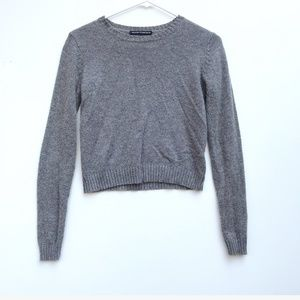 Brandy Melville Knit Cropped Grey Sweater Small